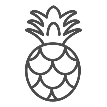 Pineapple Icon Outlined Food Fruits Vector Isolated Vettoriali