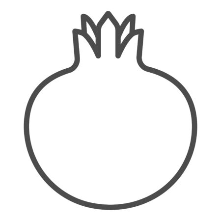 Pomegranate outline icon. Garnet fruit sign. Vector illustration for food apps and websites