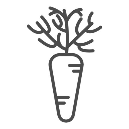 Carrot linear icon. Agriculture plant. Salad ingredient. Vegetable farm. Vegan food. Organic food. Greenery. Thin line illustration. Contour symbol. Vector isolated outline drawing. Editable stroke
