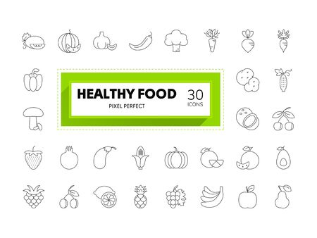 Web and Graphic design icons. Set of 30 Food collection editable stroke. Pixel perfect. Vettoriali