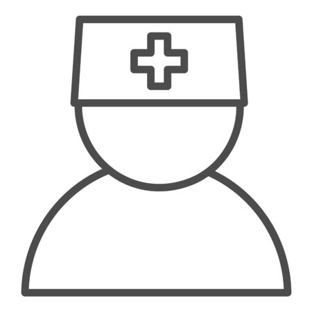 Nurse line icon. Vector editable stroke. Eps 8