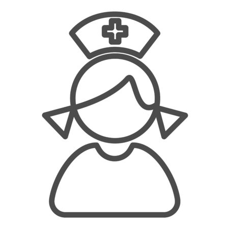 nurse icon. simple outline nurse vector icon. on white background.