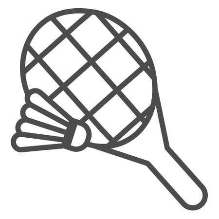 Shuttlecock and badminton racket line icon.