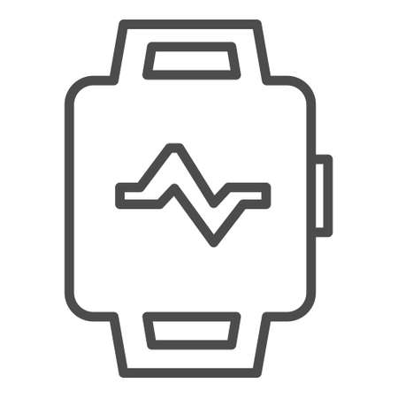 Vector fitness and smart watch line icon. Symbol and sign illustration design. Isolated on white background Vettoriali