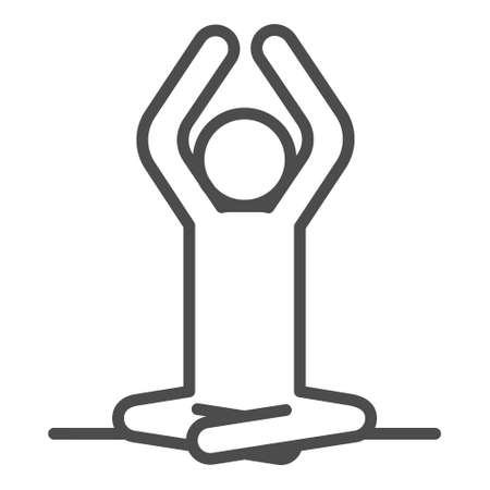 Yoga icon isolated on white background. Vector yoga woman logotype in line style. Outline design symbol.