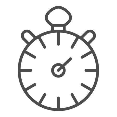 Timer line icon - vector outline timer or stopwatch symbol. Minimal sport competition sign Vettoriali
