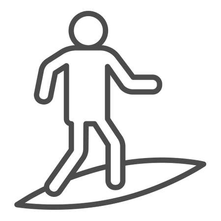 Surfing icon in grey line style icon, style isolated on white background