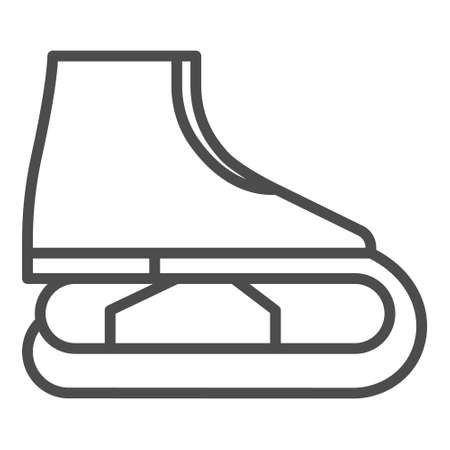 Figure skating symbol. ice skate line icon, outline  sign, linear pictogram isolated on white.