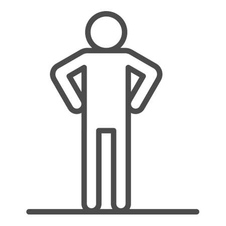 Man making exercises line icon for web, mobile and infographics. Vector white icon isolated on white background.