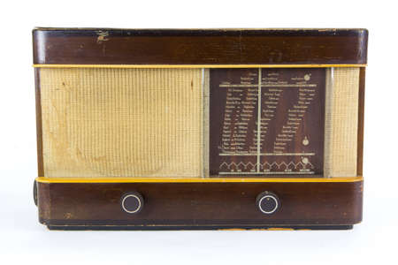 an old radio isolated on a white background photo