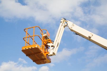 high powered: a steel basket of a telescopic crane