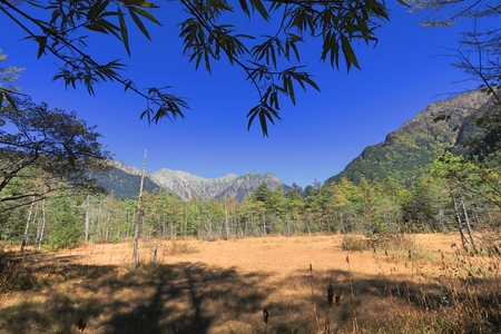 Kamikochi is the crown jewel of the Japanese Alps. The scenic area is a basin at 1500 meters elevation. One of the most beautiful tensions hangs between the booming urban life in big cities and the rest of Japan where a large population live in harmony wi Stock Photo
