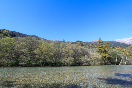 Kamikochi is the crown jewel of the Japanese Alps ,The scenic area is a basin at 1500 meters One of the most beautiful place in Japan to traveling,Nagano,Japan.