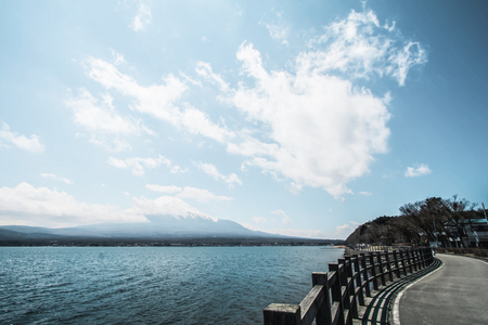 lack of water: Mt fuji and Lake  in spring season on the sky background,the most famous place in Japan to traveling, Fujiyoshida, Japan