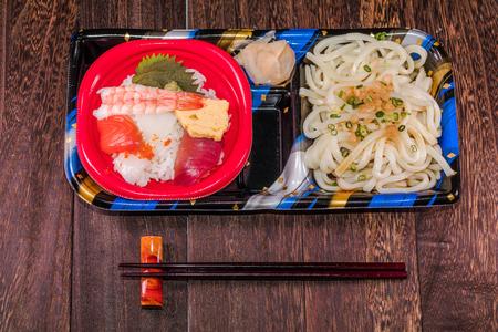 tekka: Japanese food (Tekka Don) and udon noodles , Japanese cuisine   on a grey wooden table wall background .