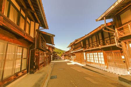 Country road at Narai  is a  small town and the old  town  provided a pleasant walk through about a kilometre of well preserved buildings in Nagano Prefecture, Japan.