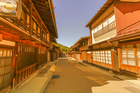 Country road at Narai  is a  small town and the old  town in soft focus , provided a pleasant walk through about a kilometre of well preserved buildings in Nagano Prefecture, Japan.