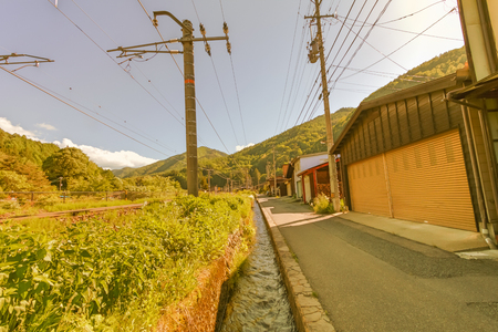 Narai  is a  small town in Nagano Prefecture Japan ,The old  town provided a pleasant walk through about a kilometre of well preserved buildings. Stock Photo