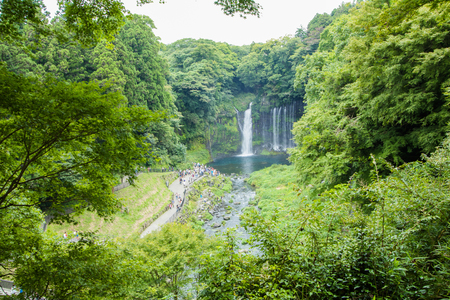 Shiraito waterfall near Mt. Fuji  in Fujinomiya  Prefecture, Japan . Stock Photo