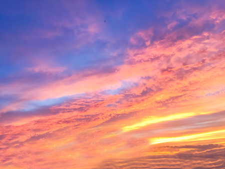 Beautiful  sun rays  of sunset  and with colorful of  sky background Stock Photo