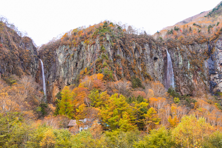 Fudodaki in authumn is large waterfall of Yonago, Suzaka-shi, Nagano Prefecture,Japan.