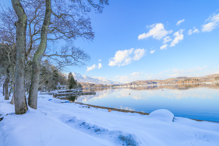 Beautiful fresh snow in winter around the mountains  Lake ,and tree  with blue sky  background, Nagano Prefecture, Japan.