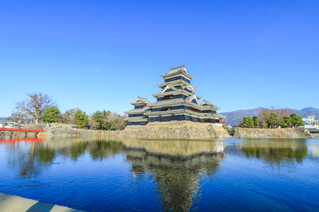 Matsumoto castle against  on blue sky background  in winter,One of  famous place in Matsumoto city ,Nagano prefecture, Japan. Stock Photo