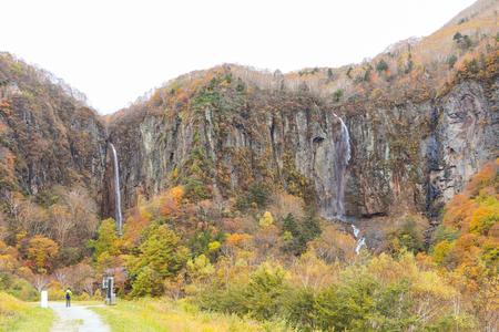 Fudodaki in authumn is large waterfall of Yonago, Suzaka-shi, Nagano Prefecture,Japan.