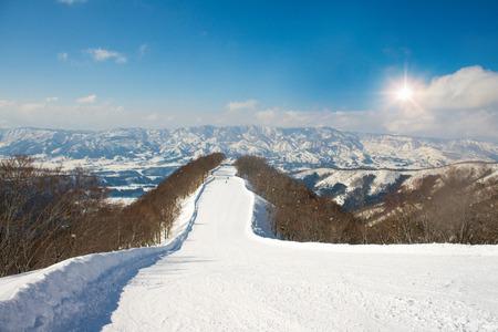 Landscape and Mountain view of Nozawa Onsen in winter , Nagano, Japan. Reklamní fotografie