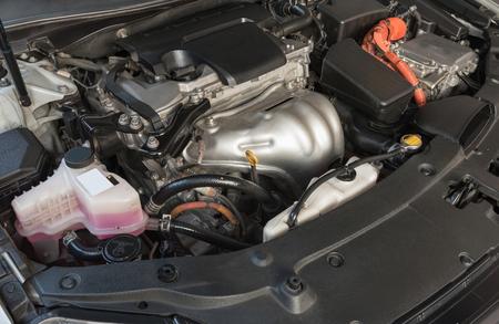 hybrid car: hybrid car engine with electric motor