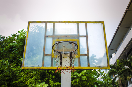 play the old park: old wooden basketball hoop in the park