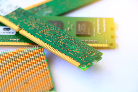 DDR RAM memory module and CPU isolated on white background Stock Photo
