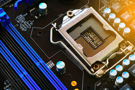 hardware: CPU socket on a computer motherboard (engineering) Stock Photo