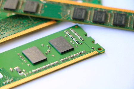 hardware: DDR RAM memory module and isolated on white background Stock Photo