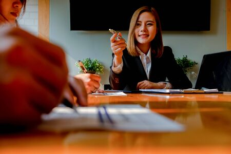 young woman sitting for candidate at job interview and listen to answers Question in office, job interview, interview concept