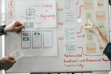 Graphic designers work together with computer designing application for mobile phone, Graphic designers concept