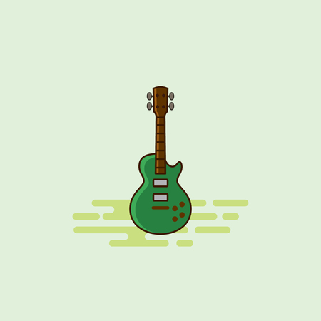 Guitar musical equipment icon illustration. Çizim