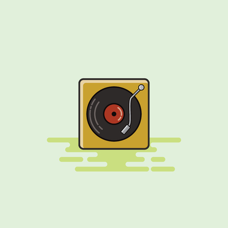 Vinyl player musical equipment icon illustration.