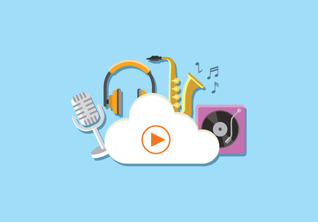 cloud media storage concept with musical instruments flat background vector illustration Illustration