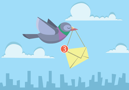 pigeon flying over the sky holding envelope sending business email Vectores