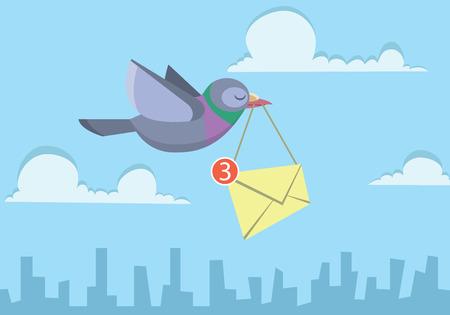 pigeon flying over the sky holding envelope sending business email Illustration