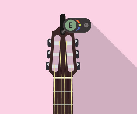 Guitar headstock with electric tuner for perfect pitch flat long shadows vector illustration