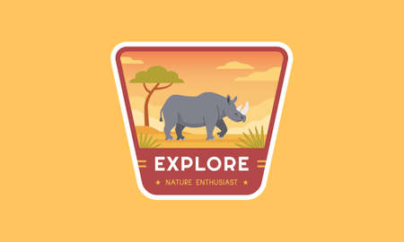 Outdoor wildlife adventure logo badge. Modern travel logo template best for emblem, patch, sticker, label, and many others. A rhinoceros living in a park flat vector illustration.