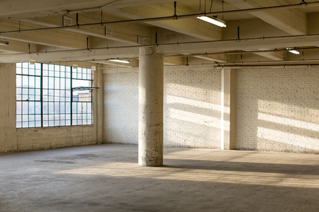 abandoned warehouse: Modern Loft Apartment Warehouse Interior Stock Photo