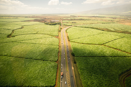 waimea canyon state park: Aerial Shot of Farmland and Highway in Hawaii