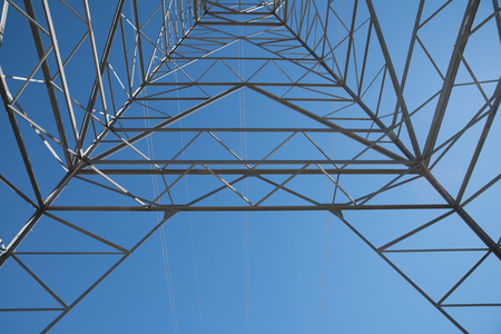 electrical tower of California inside shot that carries sustainable power from windmill producing high voltage electrict energy.