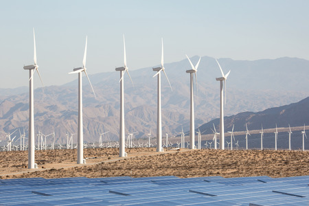 Windmill electrical energy technology producing sustainable electricty 版權商用圖片