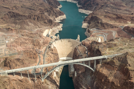 Hoover Dam aerial view of Colorado and Nevada river bridge hydroelectric power station dam wall