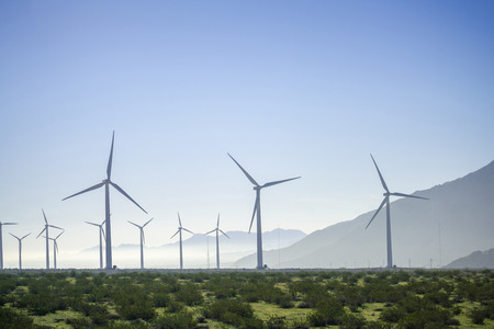 wind mill  turbines for solar energy generation and production 版權商用圖片