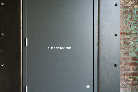 Solid Exit steel door for emergency and security and emergency purposes.